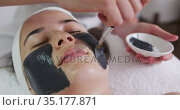 Caucasian woman lying back while beautician gives her a face mask. Стоковое видео, агентство Wavebreak Media / Фотобанк Лори