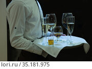 Waiter with a tray on which different alcohol. Стоковое фото, фотограф Юрий Бизгаймер / Фотобанк Лори