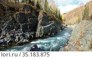 Altai river Kumir in Autumn season. River cliffs and rapids in the gorge near Girl's Plyosy. Стоковое видео, видеограф Serg Zastavkin / Фотобанк Лори