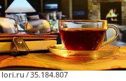 Вечер у камина с чашкой чая и книгой. Стоковое видео, видеограф Виктор Топорков / Фотобанк Лори