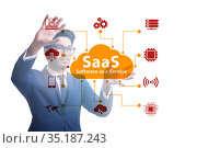 Software as a service - SaaS concept with businessman. Стоковое фото, фотограф Elnur / Фотобанк Лори