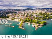 View from drone of Swiss town Lausanne. Стоковое фото, фотограф Яков Филимонов / Фотобанк Лори