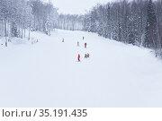 Ride on a forest ski track in the Perm Krai, Russia. Редакционное фото, фотограф Евгений Харитонов / Фотобанк Лори