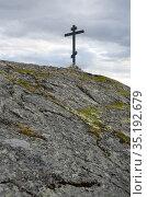 Поклонный крест на горе Крестовой. Город Кандалакша. Стоковое фото, фотограф Анатолий Гуреев / Фотобанк Лори