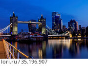 England, London, Southwark, Tower Bridge and City of London Skyline... Стоковое фото, фотограф Steve Vidler / age Fotostock / Фотобанк Лори