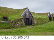 Historical farm buildings in Keldur Turf House museum in south part... Стоковое фото, фотограф Konrad Zelazowski / age Fotostock / Фотобанк Лори