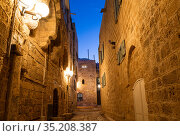 A narrow street in the ancient city of Jaffa at night. Tel Aviv, Israel (2015 год). Стоковое фото, фотограф Наталья Волкова / Фотобанк Лори
