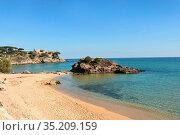 La Fosca beach in Palamos, Costa Brava, Girona province, Catalonia... Стоковое фото, фотограф Josep Curto / easy Fotostock / Фотобанк Лори