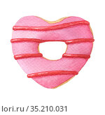 Watercolor heart shaped donut with pink glaze. Стоковая иллюстрация, иллюстратор Людмила Дутко / Фотобанк Лори