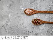 Fragrant spices in a spoon on grunge background. Стоковое фото, фотограф Tryapitsyn Sergiy / Фотобанк Лори