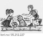 Дети и щенок. Стоковая иллюстрация, иллюстратор Елена Осетрова / Фотобанк Лори
