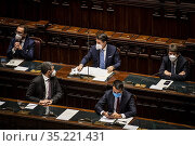 Italian Prime Minister Giuseppe Conte (C)addresses the Lower House... Редакционное фото, фотограф Alessandro Serrano' / AGF/Alessandro Serrano' / / age Fotostock / Фотобанк Лори