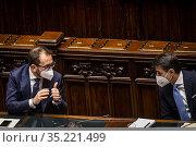 Italian Justice Minister Alfonso Bonafede (R) Italian Prime Minister... Редакционное фото, фотограф Alessandro Serrano' / AGF/Alessandro Serrano' / / age Fotostock / Фотобанк Лори