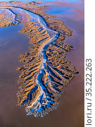 Aerial view of alluvial patterns in tidal mudflats of Colorado River Delta, where there is tidal encroachment from the Gulf of California. Waterfalls approximately... Стоковое фото, фотограф Jack Dykinga / Nature Picture Library / Фотобанк Лори