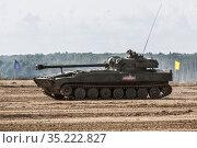 "International Military Forum ""Army-2020"". The self-propelled artillery 2S34 ""Hosta"" at demonstration performances. Редакционное фото, фотограф Наталья Волкова / Фотобанк Лори"