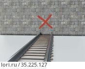 Wrong way to wall on rail symbol 3d illustration. Стоковая иллюстрация, иллюстратор Евгений Забугин / Фотобанк Лори