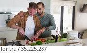 Multi ethnic male same sex couple preparing food and talking in kitchen. Стоковое видео, агентство Wavebreak Media / Фотобанк Лори