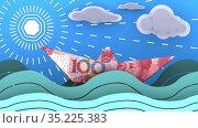 Бумажный кораблик, сделанный из китайской банкноты, плывет по волнам океана. Стоковая анимация, видеограф WalDeMarus / Фотобанк Лори