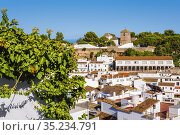 Typical white village of Mijas. Costa del Sol, Malaga province. Andalusia... Стоковое фото, фотограф Jerónimo Alba / age Fotostock / Фотобанк Лори