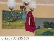 Красно-бордовые трусы висят на люстре. Редакционное фото, фотограф Евгений Будюкин / Фотобанк Лори