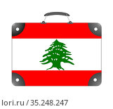 Lebanon country flag in the form of a travel suitcase on a white background... Стоковое фото, фотограф Zoonar.com/Evgeny Babaylov / easy Fotostock / Фотобанк Лори
