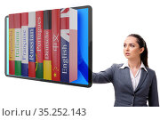 Online language learning with businesswoman. Стоковое фото, фотограф Elnur / Фотобанк Лори