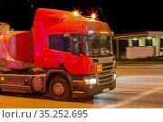 Fuel truck at night near a gas station. Стоковое фото, фотограф Юрий Бизгаймер / Фотобанк Лори