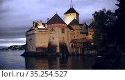 Famous castle Chateau de Chillon at lake Geneva near Montreux. Switzerland. Europe. Стоковое видео, видеограф Яков Филимонов / Фотобанк Лори