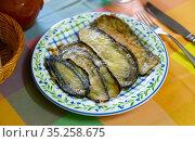 Delicious stuffed eggplants with ham. Стоковое фото, фотограф Яков Филимонов / Фотобанк Лори