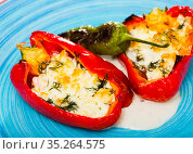 Pepper stuffed with brynza is tasty dish of Bulgarian cuisine. Стоковое фото, фотограф Яков Филимонов / Фотобанк Лори