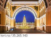 Триумфальная арка у Дворцовой площади в Санкт-Петербурге и Новогодняя ель. Стоковое фото, фотограф Baturina Yuliya / Фотобанк Лори