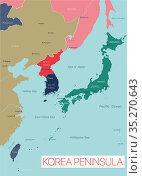 Korea peninsula detailed editable map. Стоковая иллюстрация, иллюстратор Jan Jack Russo Media / Фотобанк Лори