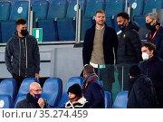In the grandstand of the stadium from left Stephan El Shaarawy, Edin... Редакционное фото, фотограф Federico Proietti / Sync / AGF/Federico Proietti / / age Fotostock / Фотобанк Лори