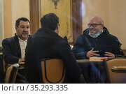 Leader of Lega party Matteo Salvini with Giancarlo Giorgetti during... Редакционное фото, фотограф Francesco Fotia / AGF/Francesco Fotia / AGF / age Fotostock / Фотобанк Лори