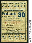 Europa, Deutschland, DDR , Punktkarte für Leibwäsche, Obertrikotagen... Редакционное фото, фотограф Historisches Auge Ralf Feltz / age Fotostock / Фотобанк Лори