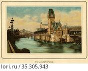 Europa, Deutschland, Hamburg, die Jungfernbrücke im Freihafen, Chromolithographie... Редакционное фото, фотограф Historisches Auge Ralf Feltz / age Fotostock / Фотобанк Лори