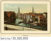 Europa, Deutschland, Hamburg, Fleet, im Hintergrund die Katharinenkirche... Редакционное фото, фотограф Historisches Auge Ralf Feltz / age Fotostock / Фотобанк Лори