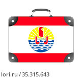 Flag of the country of Polynesia in the form of a travel suitcase... Стоковое фото, фотограф Zoonar.com/Evgeny Babaylov / easy Fotostock / Фотобанк Лори