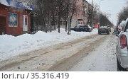 Серпухов. Улица Крупской зимой во время снегопада. Февраль 2021. Редакционное видео, видеограф Владимир Литвинов / Фотобанк Лори