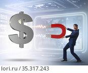 Businessman catching dollars on horseshoe magnet. Стоковое фото, фотограф Elnur / Фотобанк Лори
