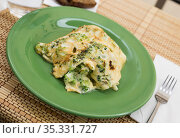 wholesome breakfast. omelet with broccoli on green plate. Стоковое фото, фотограф Татьяна Яцевич / Фотобанк Лори