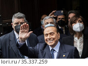 Arrival of the leader of Forza Italia party Silvio Berlusconi at ... Редакционное фото, фотограф Francesco Fotia / AGF/Francesco Fotia / AGF / age Fotostock / Фотобанк Лори