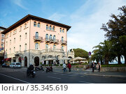 Croatia, Opatija - Hotel-restaurant in the seaside resort on the Kvarner bay with monuments of Austrian-Hungarian past (2016 год). Редакционное фото, агентство Caro Photoagency / Фотобанк Лори