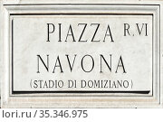 Street sign the Piazza Navona in Rome - Italy. Стоковое фото, фотограф Peter Probst / age Fotostock / Фотобанк Лори