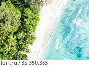 Seychelles aerial photo Takamaka beach Mahe island nature vacation... Стоковое фото, фотограф Markus Mainka / easy Fotostock / Фотобанк Лори
