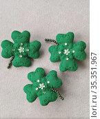 Handmade clover leaf brooch on white T-shirt. Celebrating Saint Patrick's Day. Стоковое фото, фотограф Kira_Yan / Фотобанк Лори