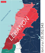 Lebanon country detailed editable map. Стоковая иллюстрация, иллюстратор Jan Jack Russo Media / Фотобанк Лори