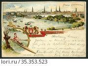 Europa, Deutschland, Hamburg, Postkarte, Alster Panorama mit hamburger... Редакционное фото, фотограф Historisches Auge Ralf Feltz / age Fotostock / Фотобанк Лори