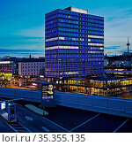 Illuminierter Magna Tower am Abend, Buerohochhaus im Westviertel, ... Стоковое фото, фотограф Zoonar.com/Stefan Ziese / age Fotostock / Фотобанк Лори