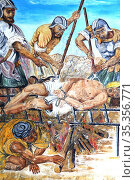 Saint-Laurent, martyr. Mural. Church of Saint-Gervais-et-Protais.... Стоковое фото, фотограф Catherine Leblanc / easy Fotostock / Фотобанк Лори